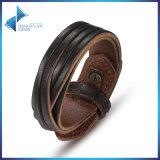 Genuine Leather Wrap Vintage Dark Brown Bracelet & Bangles Friendship Fashion Men Simple Bracelet Jewelry