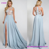 Beautiful Silk Evening Dress with 3D Flowers on Top