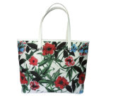 Coated Polyester Floral Pattern Lady Tote Bags with PU Handles