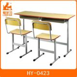 Student Double Table with Attached Chairs of School Furniture