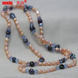 Wholesale Fashion Natural Pink Baroque Pearl Necklace Jewelry with Crystal