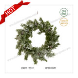 D50cm PE Plastic Snowy Wreath Craft Christmas Glass Ornaments