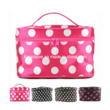 Pink with White Dots Nylon Cosmetic Bag (KCC11)