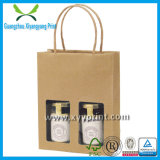 Custom Made Promotional Brown Paper Bag with Window Wholesale