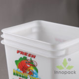 10L Rectangular Plastic Bucket and Container with Lid for Seafood