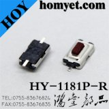 Tact Switch with 3*6*2.5mm Square Red Button Flat Foot 2 Pin SMD (HY-1181P-R)