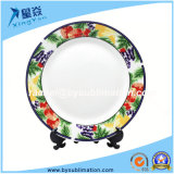 Red Strawberry Rim Color 8inch Sublimation Ceramic Plate