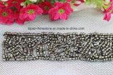 Jet Hematite Round Beads Lace Strip Sew on Rhinestone Patches (TA-030)