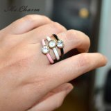 3 PCS/Set Crystal Black White Pink Point Spray Rings Fashion Jewelry