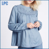 Embroidered Lace Front Long Sleeve Blouse