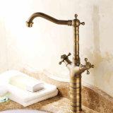 Flg High Platform Heightening Double Handles Antique Bath Vessel Faucet