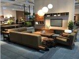 Brown Genuine Leather Sofa Set with Walnut Wood Frame (GLS-030)