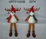 "20""H Floral Moose Shelf Sitter Christmas Decoration Toys, 2 Asst"
