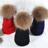 Custom Women Raccoon Fur Pompom Knitted Beanie Hat