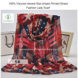 100% Viscose Newest Star Stripes Printed Shawl Fashion Lady Scarf