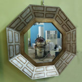 Silver Decorative Regular Polygon Bedroom Wall Mirror Frame (LH-000500)