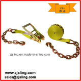 "Customized 2"" X 30′ Yellow Ratchet Strap W/ Chain Extension"