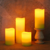 Pack of 4 White Battery Operated Flameless LED Outdoor Pillar Candles
