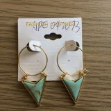 Large Circles with Triangular Earrings Fashion Jewelry Gold Gold