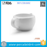 White Double Wall Ceramic Shaving Scuttle Bowl