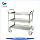 3 Layers Stainless Steel Instrument Trolley with Handrails
