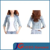 Short Sleeve Full Button Pocket Girl Jacket Jeans Clothing (JC4072)