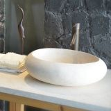 Sunny Yellow Beige Marble Cocoon Vessel Sink