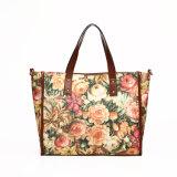Floral Printed Cotton PU Handle Designer Handbag (MBNO037132)