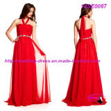 Red Halter Chiffon Evening Gown with Charming Belt