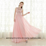 A-Line Pink Chiffon Long Elegant Sleeveless Prom Gown