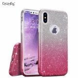 Premium 3 Layer Gradient Pink Shiny Bling Crystal Ultra Thin Sparkle Transparent TPU Soft Grip Cases Cover for Apple Iphonex