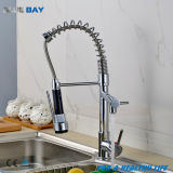 Chrome Solid Brass Pull out Kitchen Vessel Sink Mixer Tap with Swivel Spout