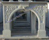 Fireplace Mantel with Stone Marble Limestone Sandstone Granite (QY-LE068)