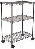 Black Epoxy Coated 3 Layers DIY NSF Approved Metal Wire Rack Shelf Trolley Cart on Wheels, Multi-Functional Used for Kitchen and Garage Storage