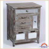 Home Furniture French Style Antique Wooden Mirror Storage Cabinet in Drift Wood Color