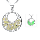 Carved Flower Light Necklace Round Pendnat Silver Plated Women Light Necklace