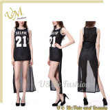 Wholesale Summer Lady Fashion Mesh Long Loose Sport Tops Dress