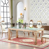 Glass Top Rectangular Banquet Dining Table and Chair for Modern Villa