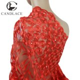 Red Color 3D Flower Bridal Lace Embroidered Fabric Wholesale