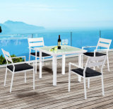New Design High Quality Cheap 4 People Outdoor Alum-Coating Square Dining Table Set