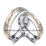 Fashion Wedding Ring with Gold Groove White Stones