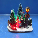 Resin Christmas Decoration4′′led Choir Scene with Christmas Tree and Lamp
