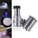 Mini 60X LED UV Light Pocket Microscope Jeweler Magnifier Loupe