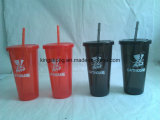 New Design Single Wall Plastic Straw Cup with Logo Printing