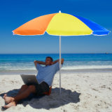 7′ Nylon Beach Sun Umbrella (height adjustable w/tilt UV 30+)