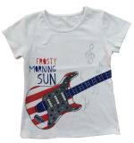 Fashion Girl Kids Clothes Guitar T-Shirt with Embroider Sgt-034