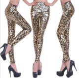 New European and American Punk Style Leopard Big Sized Leather Leggings in Autumn