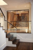 Frameless Glass Balustrade Installed for Interior Solid Wood Staircase