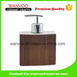 Square Ceramic Soap Dispenser with Plastic Pump for Bathroom Ornament