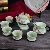 Hand Painting Flower Ceramic Teapot Set with Wood Gift Box